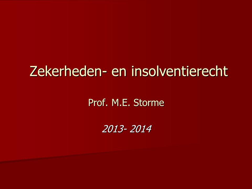 Zekerheden- en insolventierecht Prof. M.E. Storme