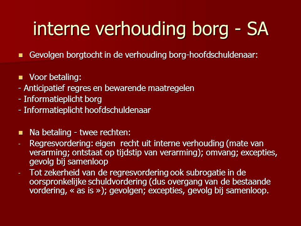 interne verhouding borg - SA