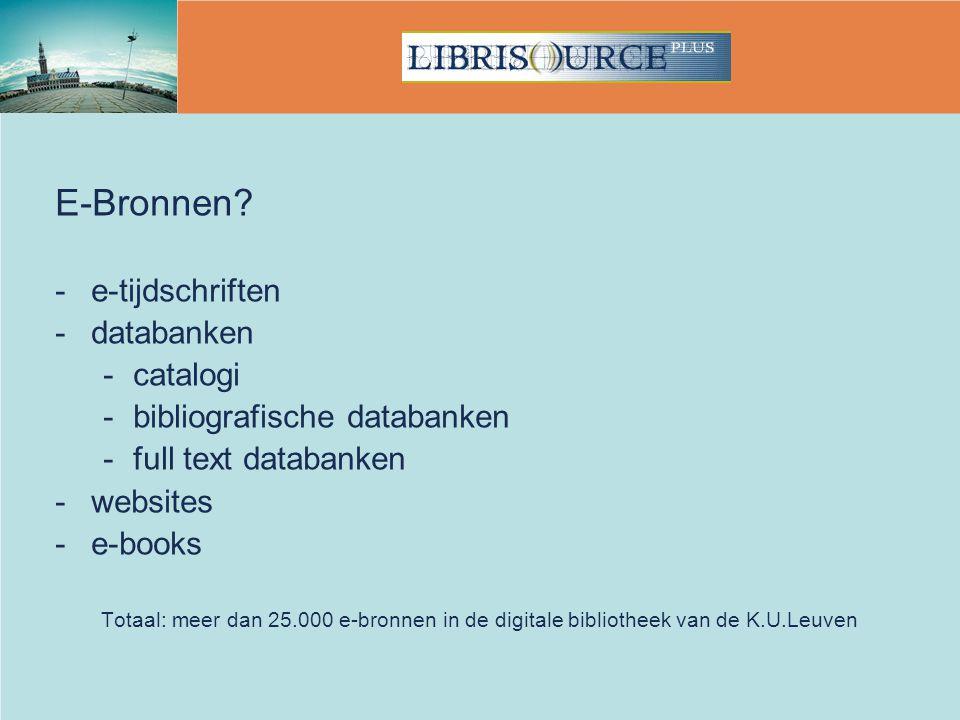 E-Bronnen e-tijdschriften databanken catalogi