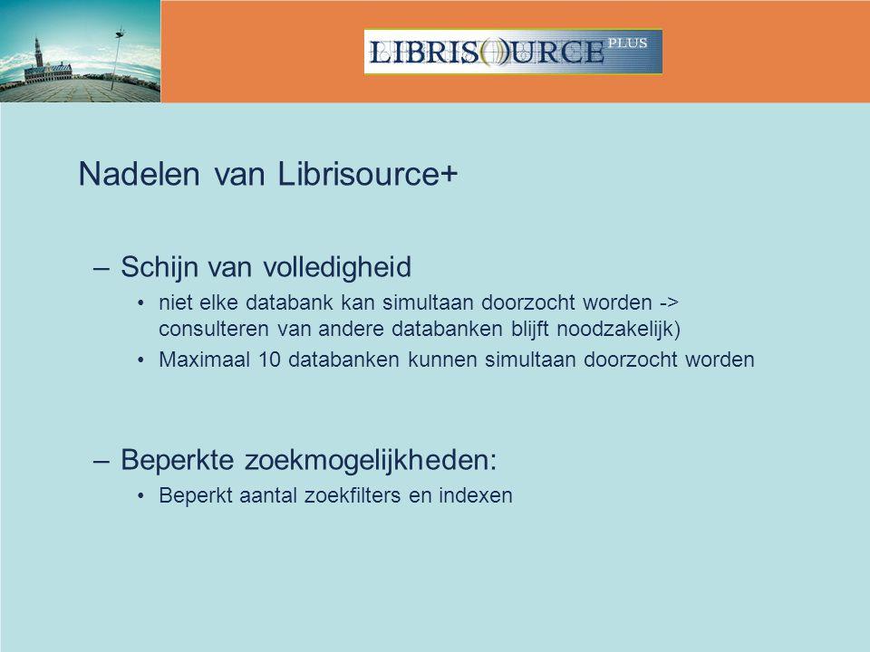 Nadelen van Librisource+