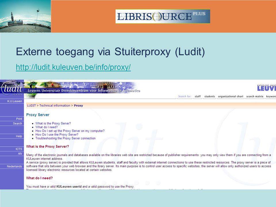 Externe toegang via Stuiterproxy (Ludit)