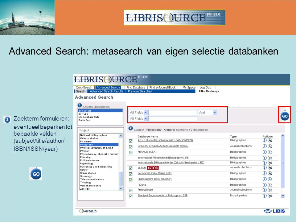 Advanced Search: metasearch van eigen selectie databanken