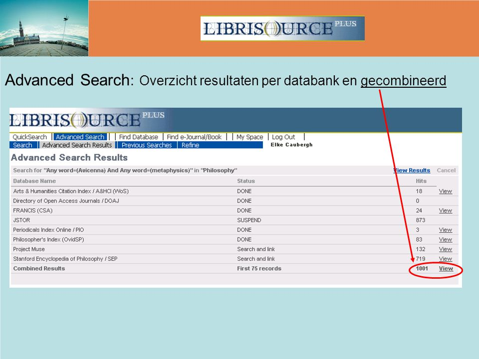 Advanced Search: Overzicht resultaten per databank en gecombineerd
