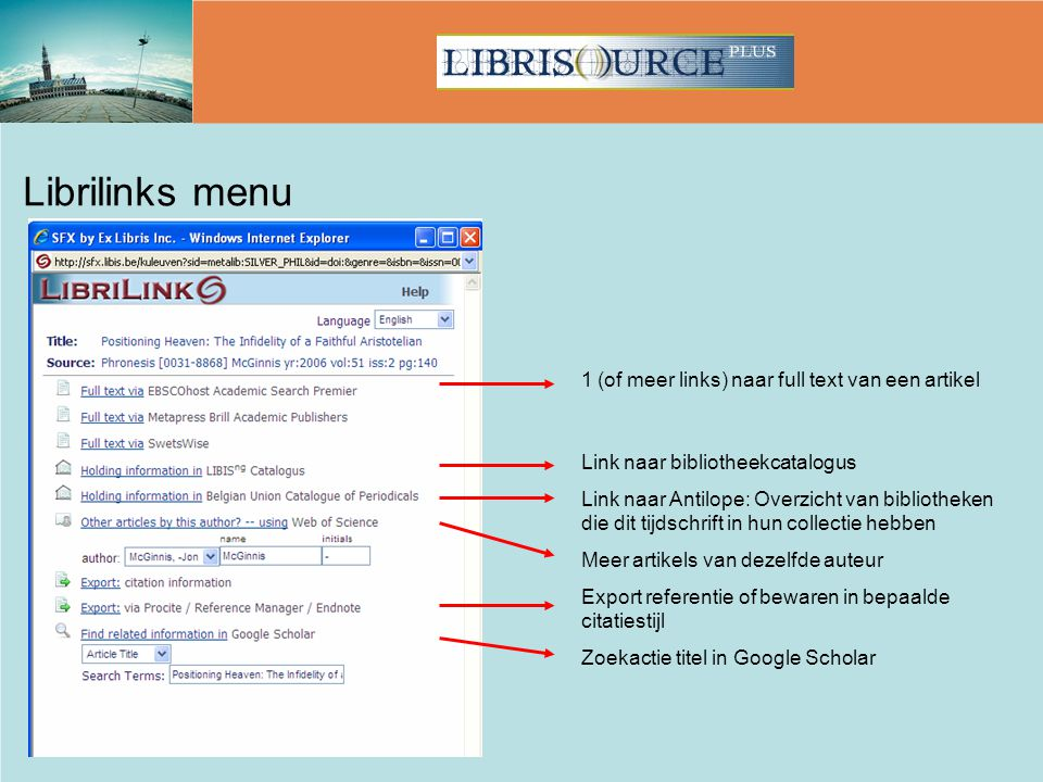 Librilinks menu 1 (of meer links) naar full text van een artikel