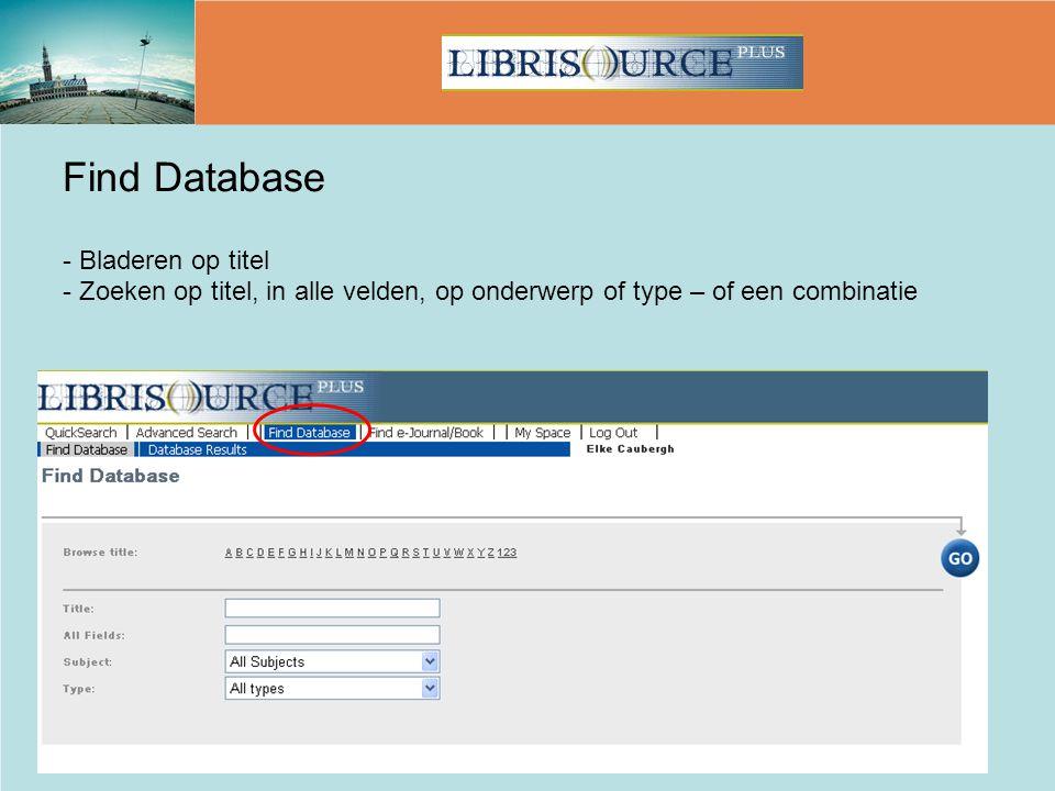 Find Database - Bladeren op titel