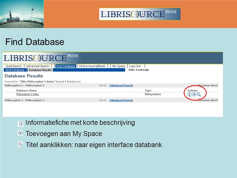 Find Database Toevoegen aan My Space