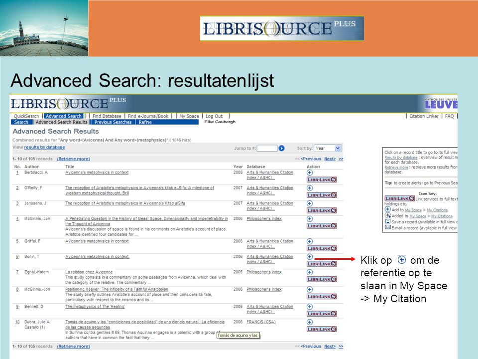 Advanced Search: resultatenlijst