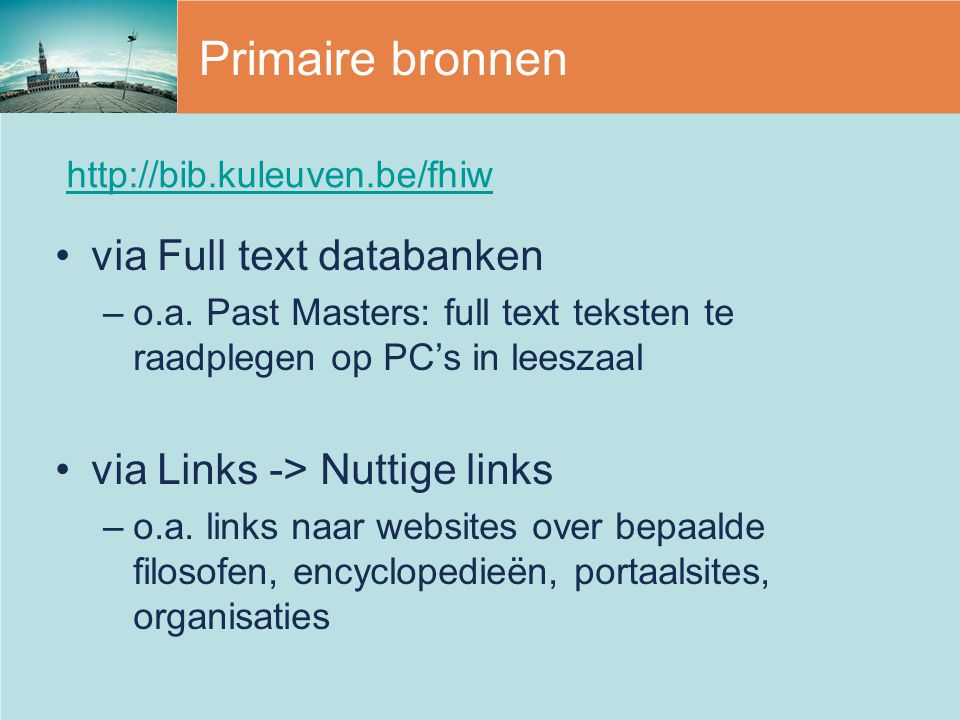 Primaire bronnen via Full text databanken