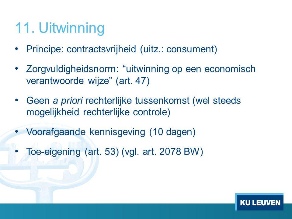 Uitwinning Principe: contractsvrijheid (uitz.: consument)