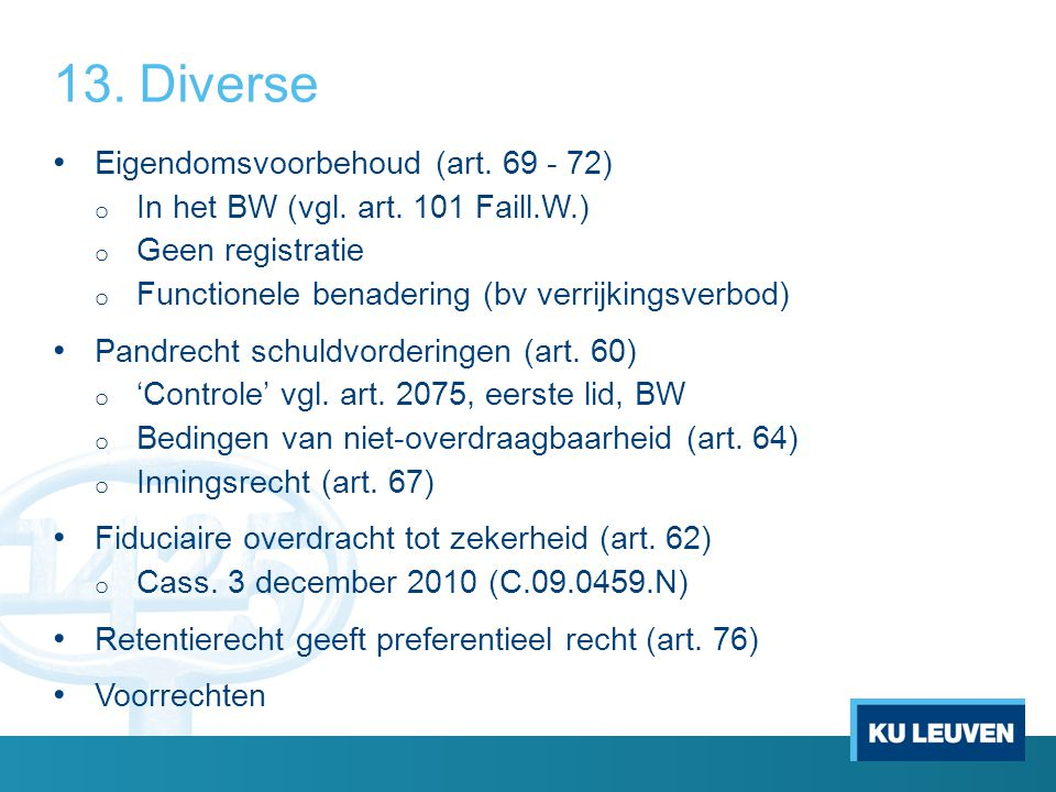 Diverse Eigendomsvoorbehoud (art. 69 - 72)