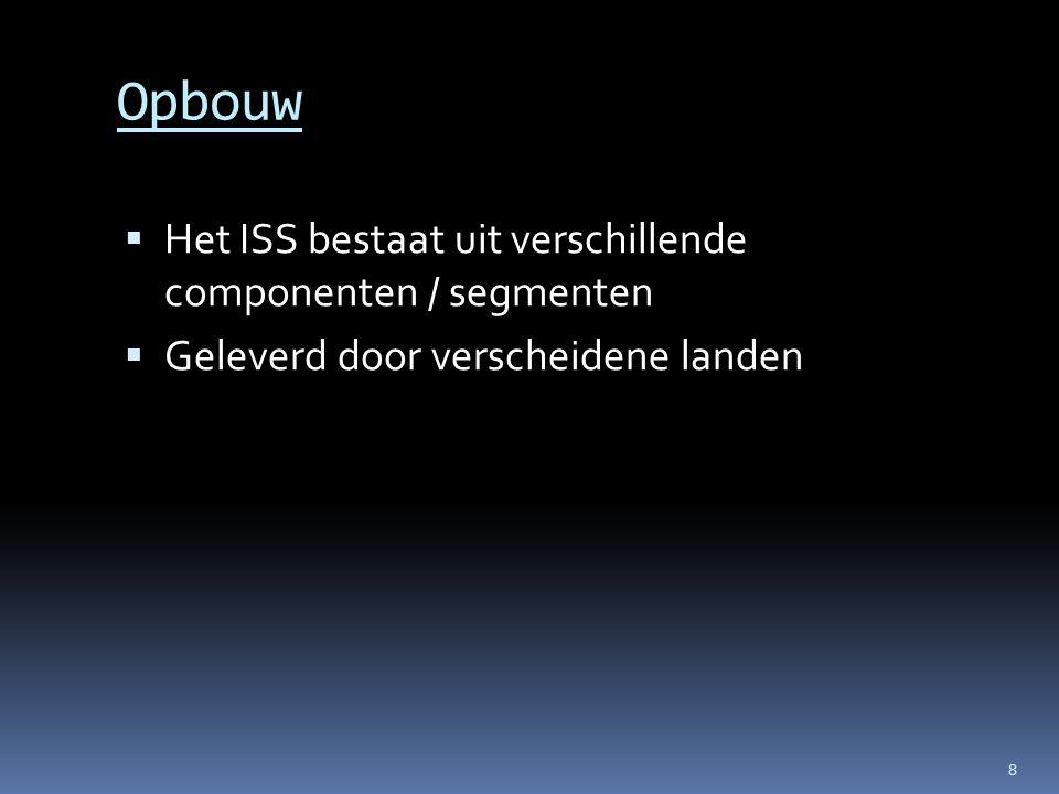 Opbouw Het ISS bestaat uit verschillende componenten / segmenten