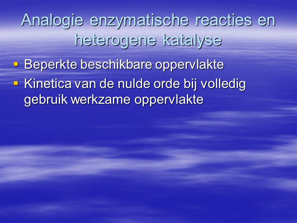 Analogie enzymatische reacties en heterogene katalyse