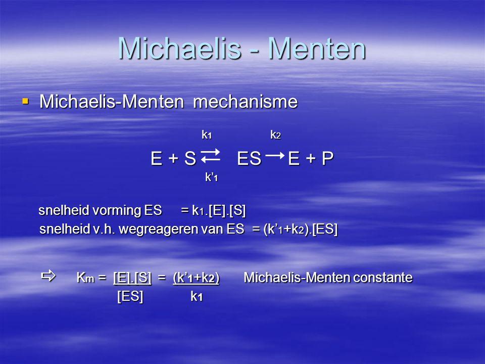 Michaelis - Menten Michaelis-Menten mechanisme E + S ES E + P