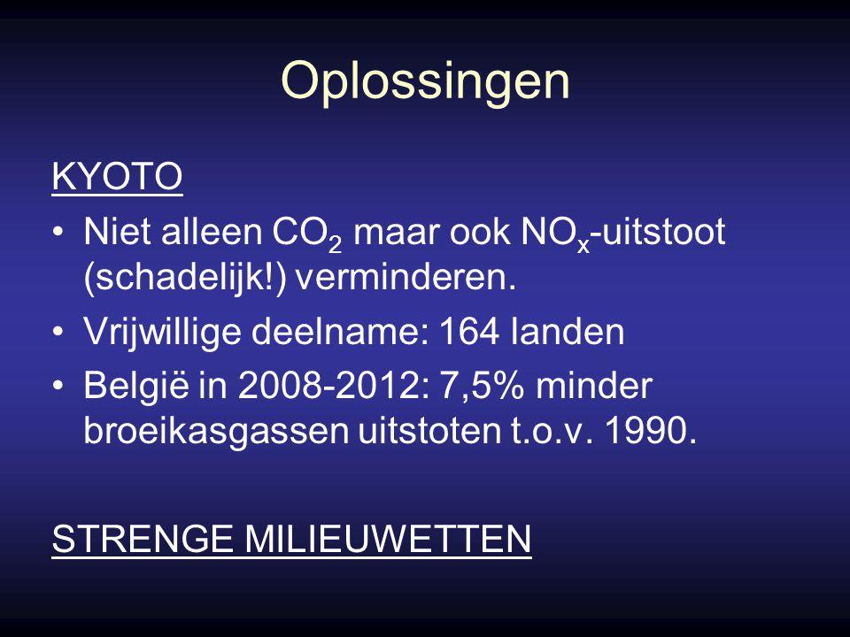 Oplossingen KYOTO. Niet alleen CO2 maar ook NOx-uitstoot (schadelijk!) verminderen. Vrijwillige deelname: 164 landen.