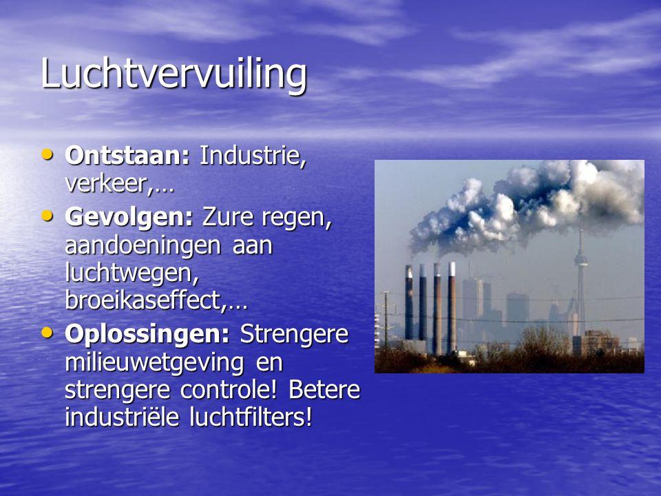 Luchtvervuiling Ontstaan: Industrie, verkeer,…