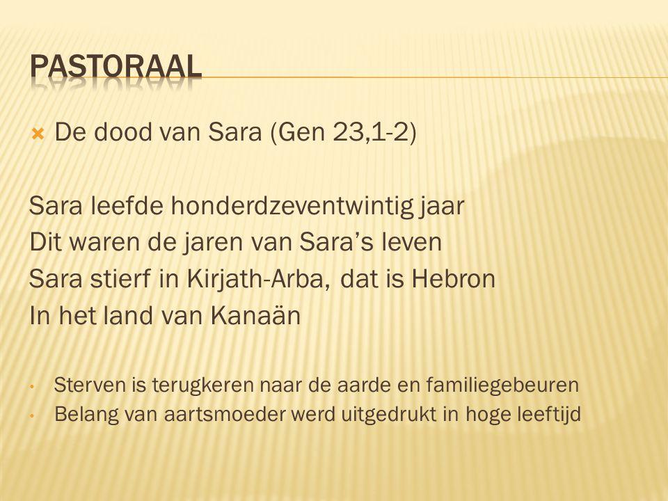 PASTORAAL De dood van Sara (Gen 23,1-2)