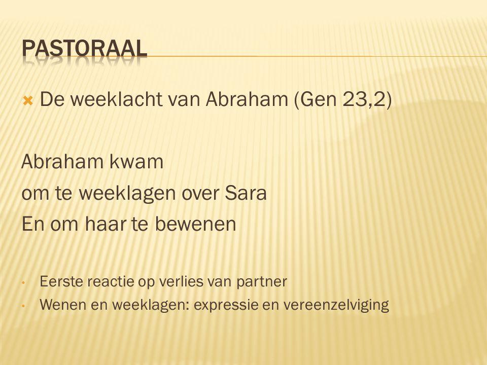 PASTORAAL De weeklacht van Abraham (Gen 23,2) Abraham kwam