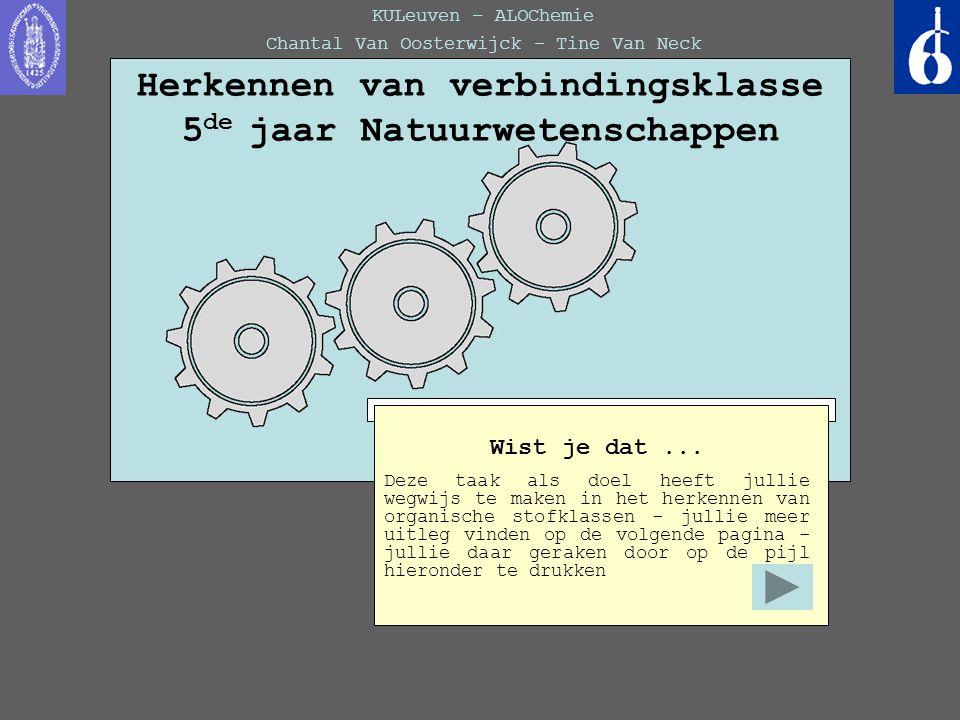 Herkennen van verbindingsklasse 5de jaar Natuurwetenschappen
