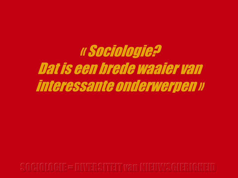 « Sociologie Dat is een brede waaier van interessante onderwerpen »