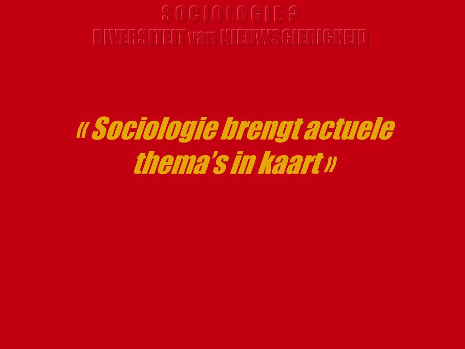 « Sociologie brengt actuele thema's in kaart »