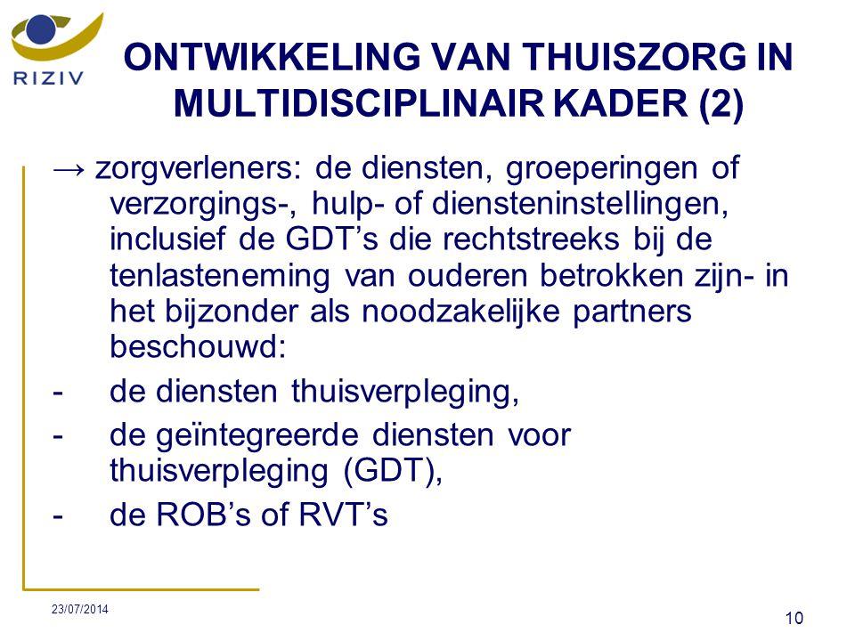 ONTWIKKELING VAN THUISZORG IN MULTIDISCIPLINAIR KADER (2)