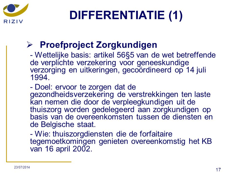 DIFFERENTIATIE (1) Proefproject Zorgkundigen