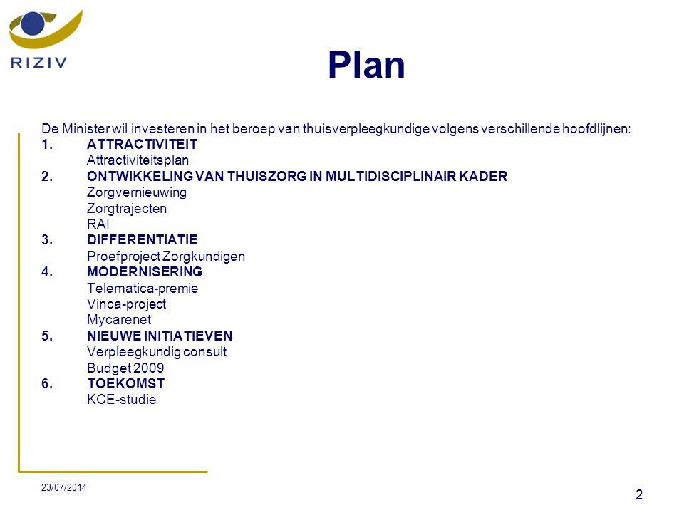 Plan De Minister wil investeren in het beroep van thuisverpleegkundige volgens verschillende hoofdlijnen: