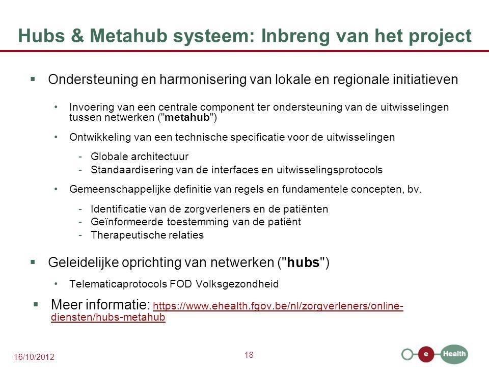Hubs & Metahub systeem: Inbreng van het project