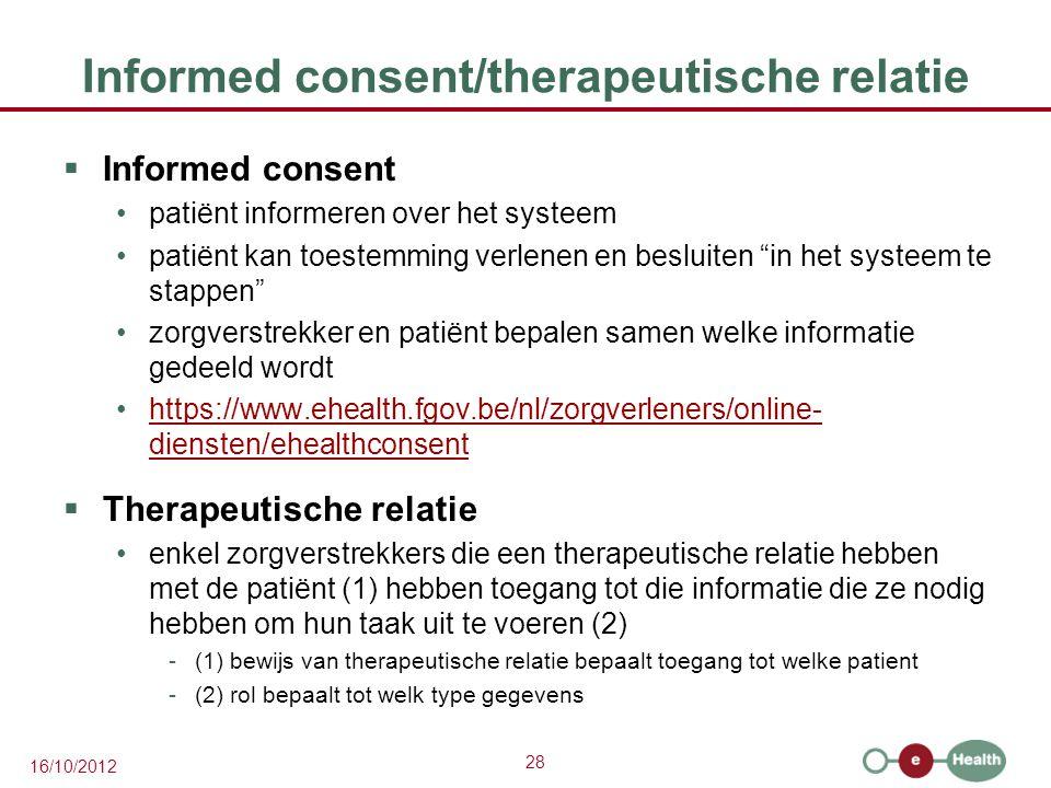 Informed consent/therapeutische relatie