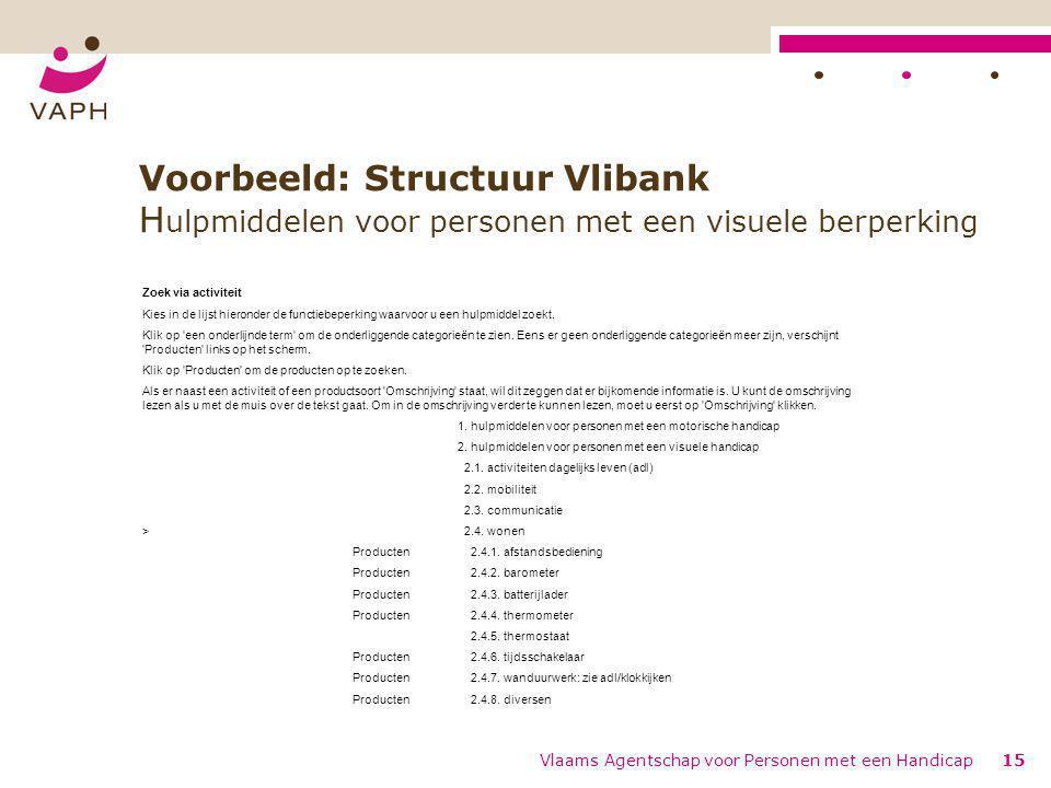 Voorbeeld: Structuur Vlibank Hulpmiddelen voor personen met een visuele berperking