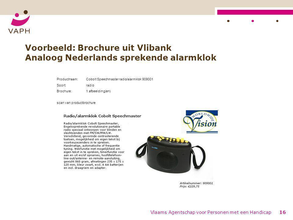 Voorbeeld: Brochure uit Vlibank Analoog Nederlands sprekende alarmklok