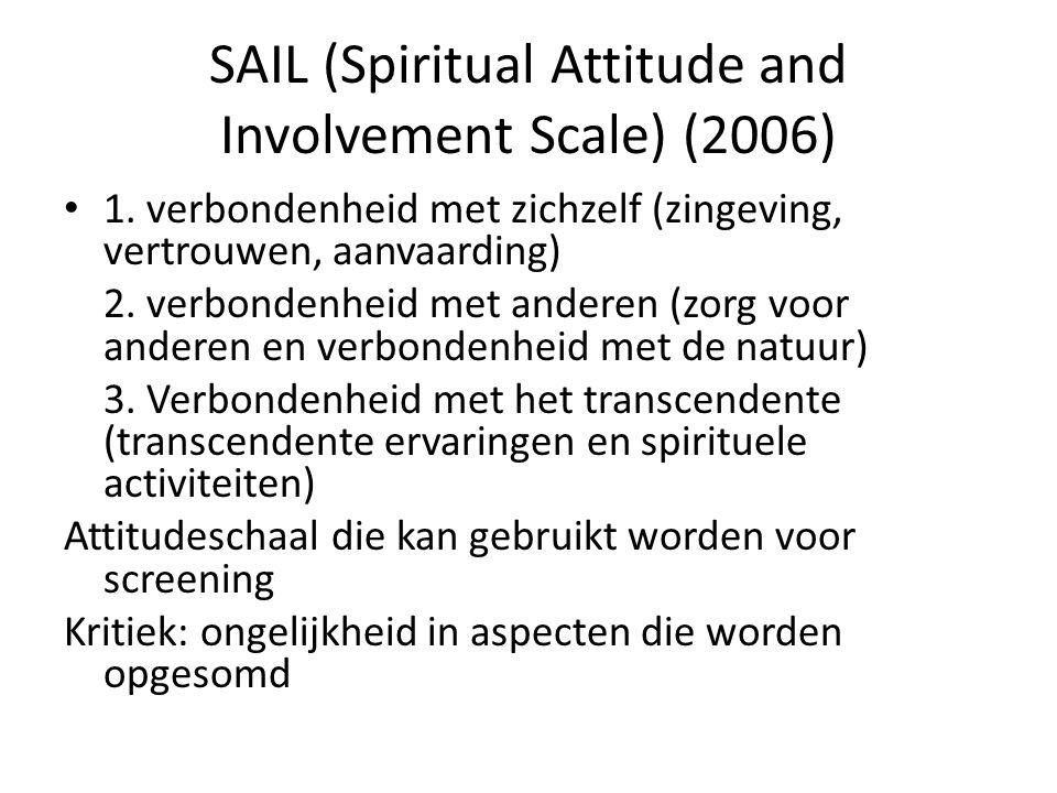 SAIL (Spiritual Attitude and Involvement Scale) (2006)