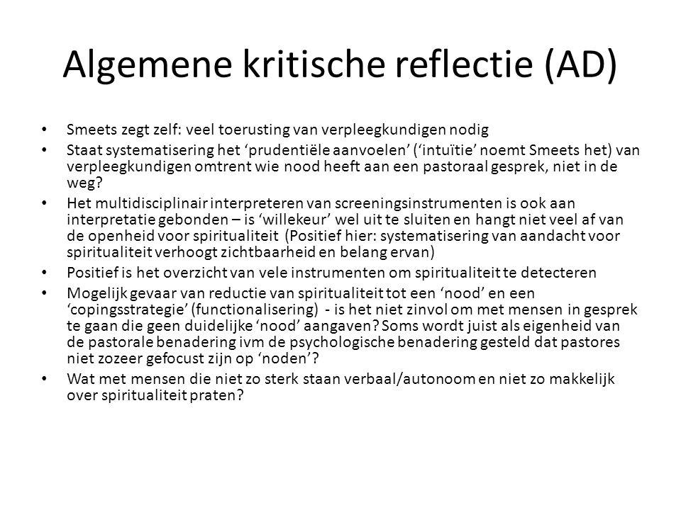 Algemene kritische reflectie (AD)