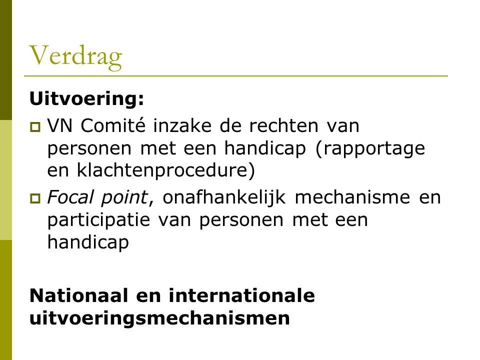 Verdrag Uitvoering: VN Comité inzake de rechten van personen met een handicap (rapportage en klachtenprocedure)