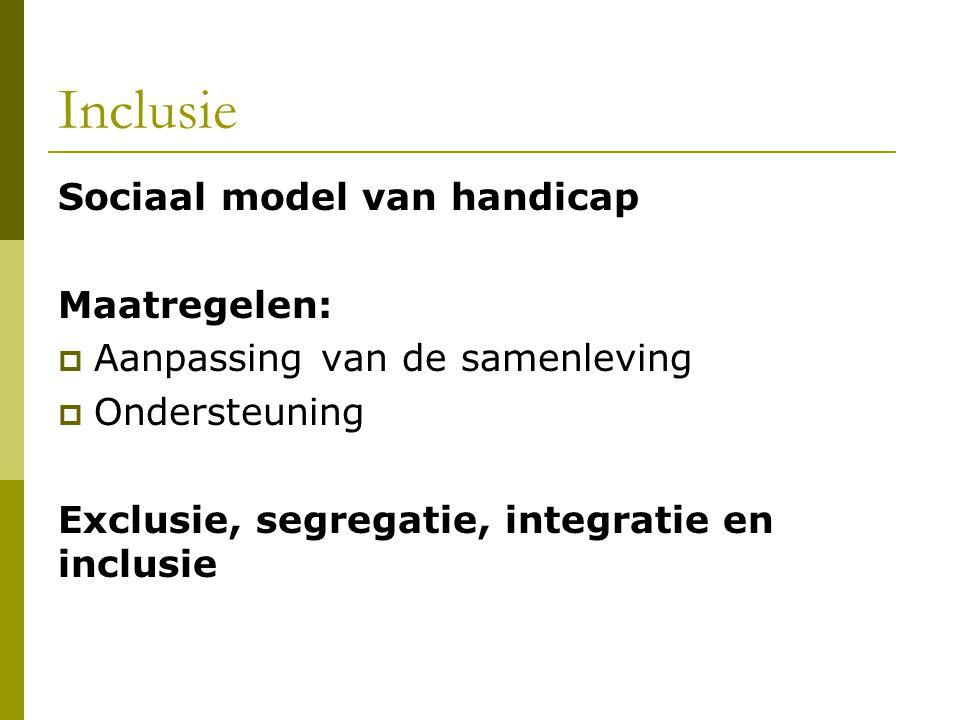 Inclusie Sociaal model van handicap Maatregelen: