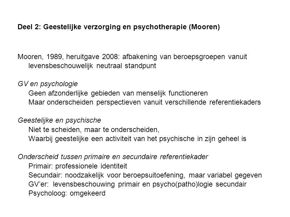 Deel 2: Geestelijke verzorging en psychotherapie (Mooren)