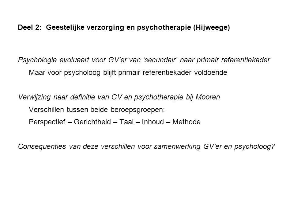 Deel 2: Geestelijke verzorging en psychotherapie (Hijweege)