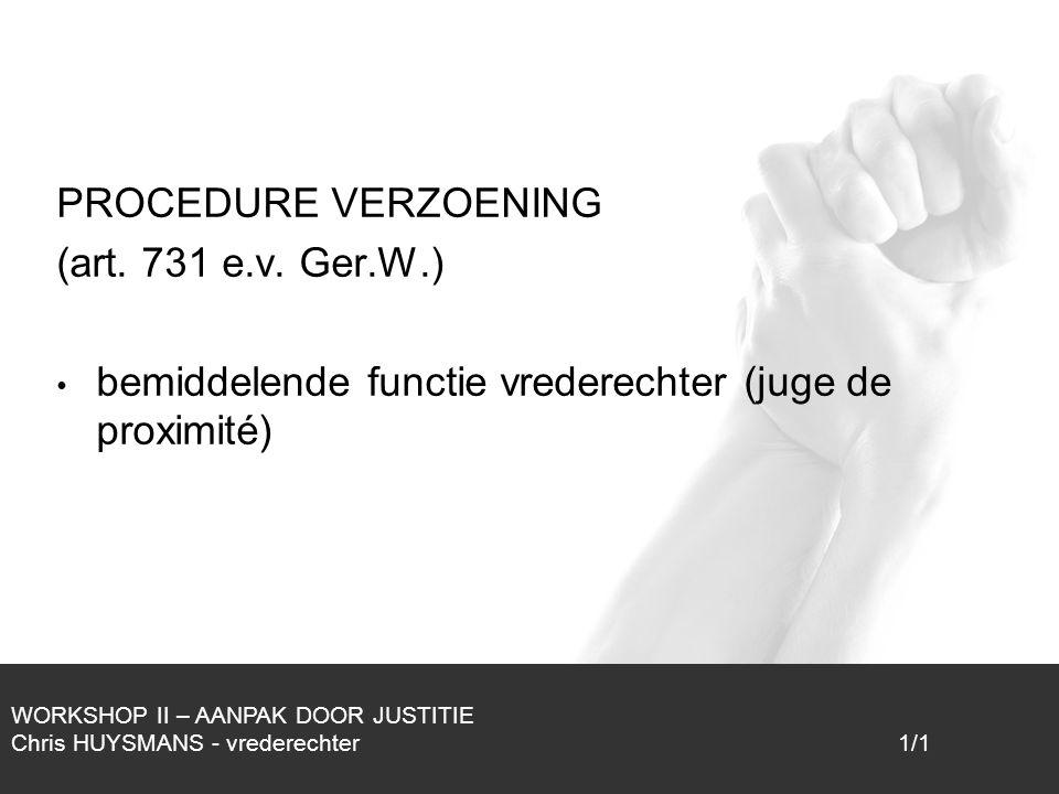 bemiddelende functie vrederechter (juge de proximité)