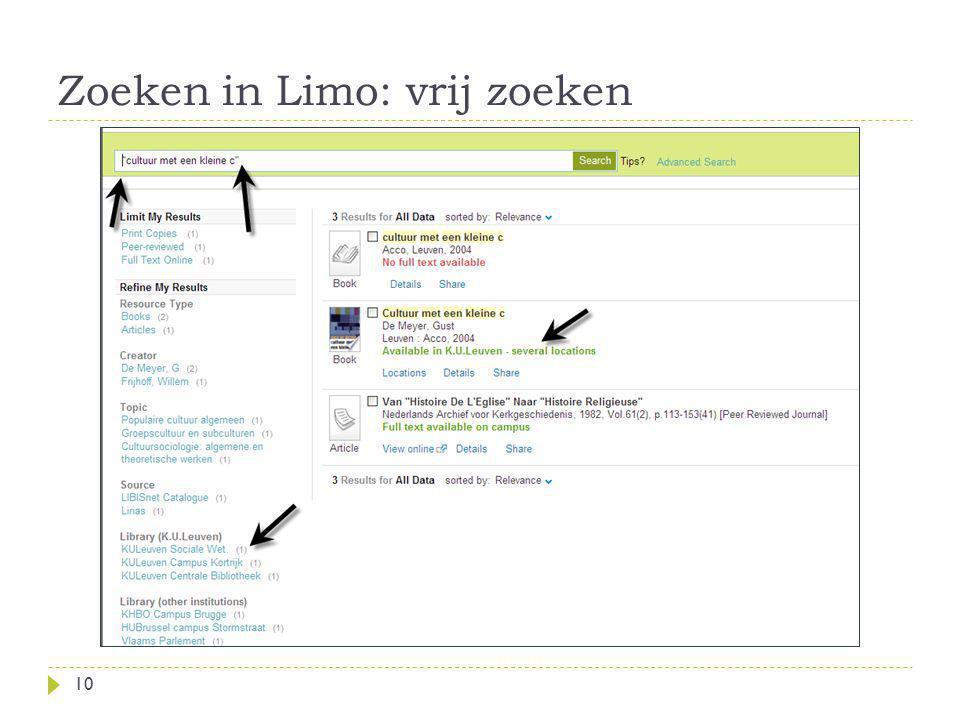 Zoeken in Limo: vrij zoeken