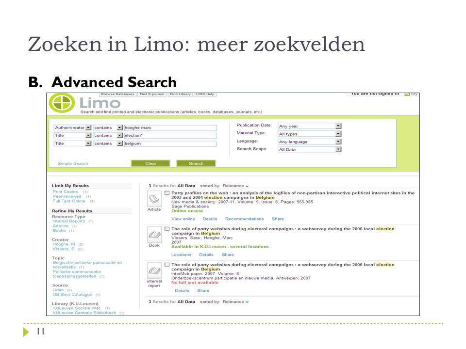 Zoeken in Limo: meer zoekvelden