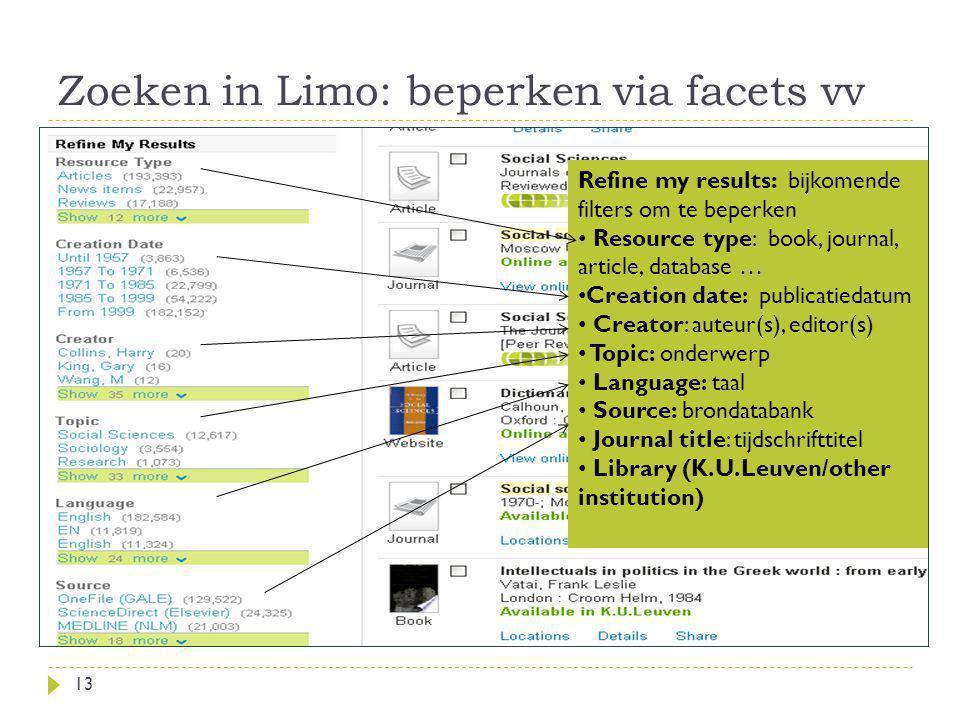 Zoeken in Limo: beperken via facets vv
