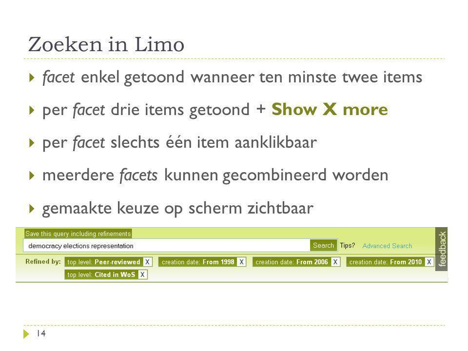 Zoeken in Limo facet enkel getoond wanneer ten minste twee items