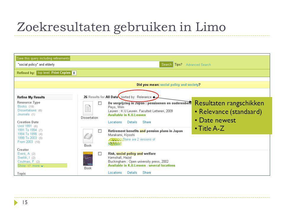 Zoekresultaten gebruiken in Limo