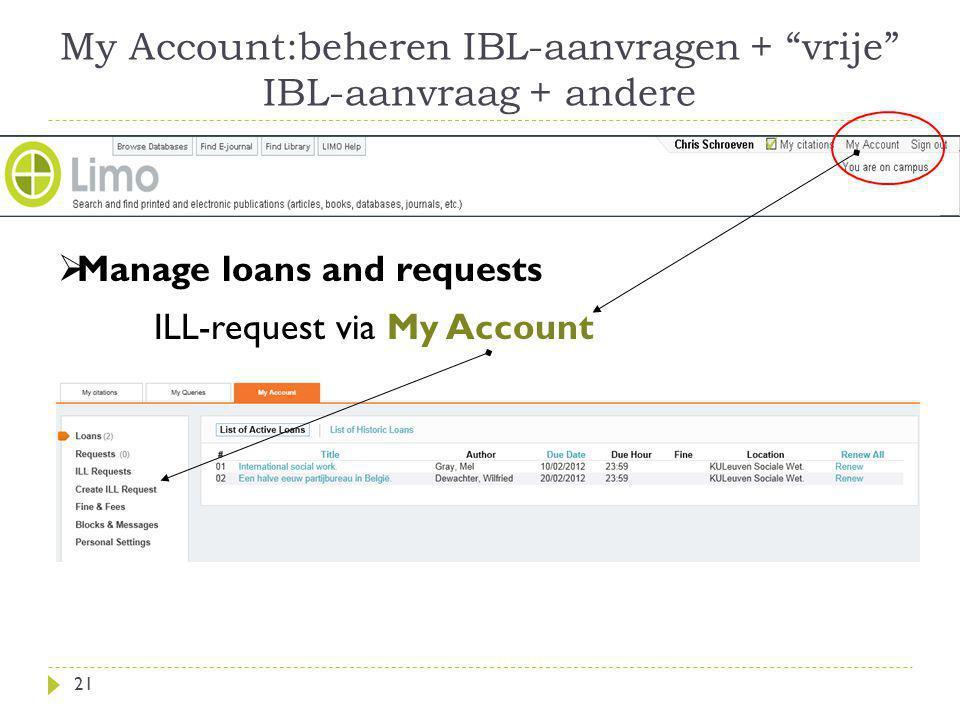 My Account:beheren IBL-aanvragen + vrije IBL-aanvraag + andere