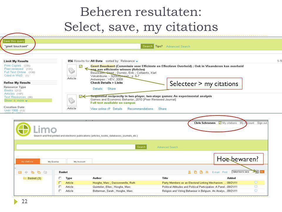 Beheren resultaten: Select, save, my citations