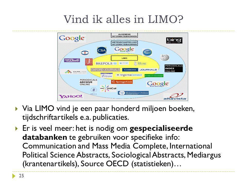 Vind ik alles in LIMO Via LIMO vind je een paar honderd miljoen boeken, tijdschriftartikels e.a. publicaties.