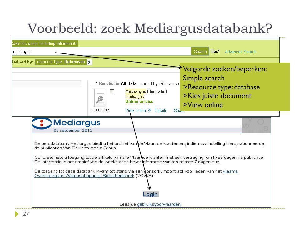 Voorbeeld: zoek Mediargusdatabank