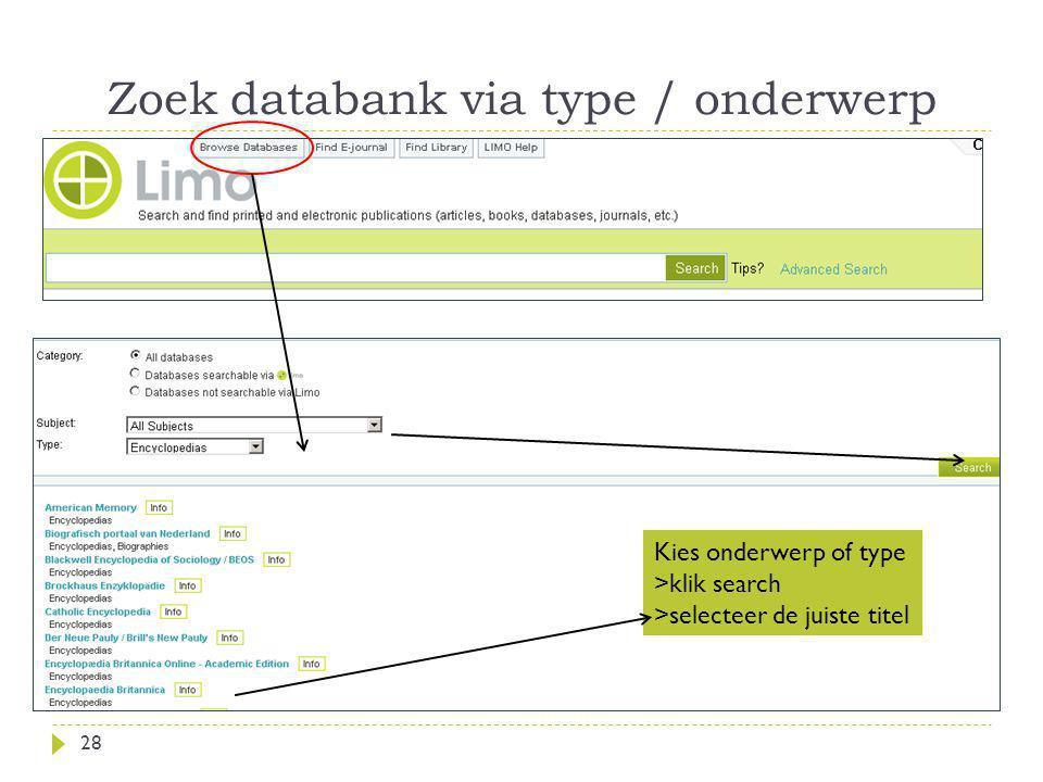 Zoek databank via type / onderwerp
