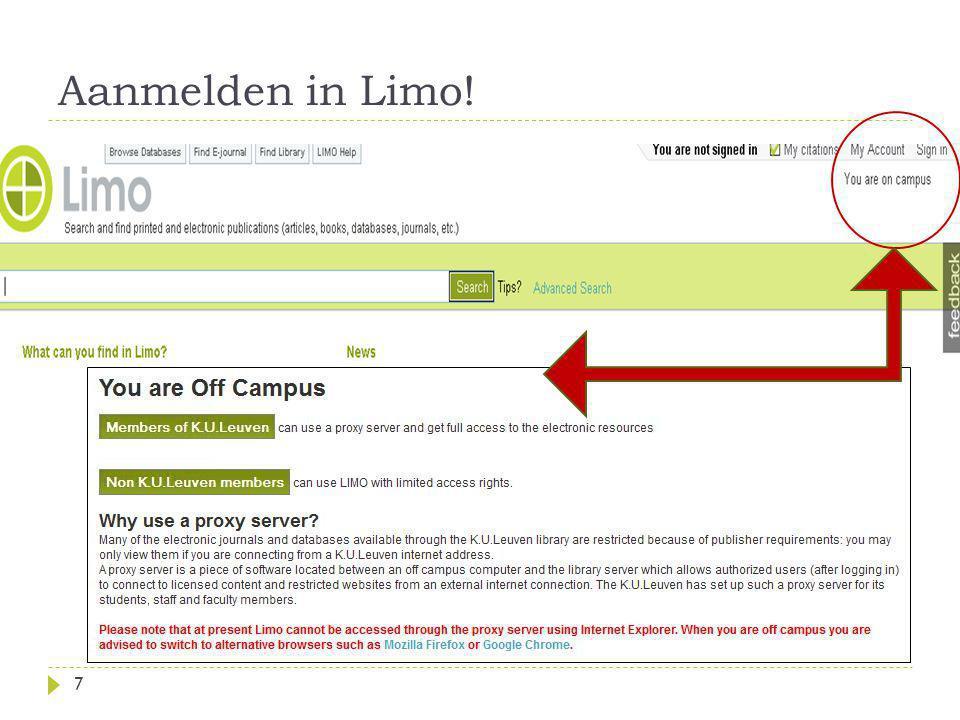 Aanmelden in Limo!