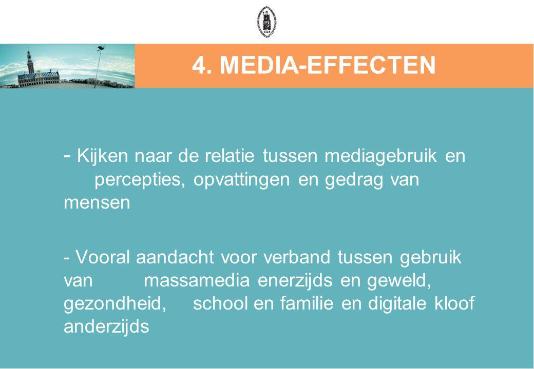 4. MEDIA-EFFECTEN - Kijken naar de relatie tussen mediagebruik en percepties, opvattingen en gedrag van mensen.